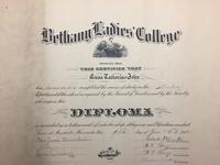 Bethany Ladies College Diploma for Anna Catherine John in 1914.