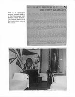 Newspaper article on graduation of Marie Muench and a photo of her dorm room.