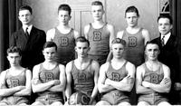 Portrait of Bethany Lutheran College men's basketball team, including Joe Petersen, Juul Madson, and Vangen, and coach C. Meyer