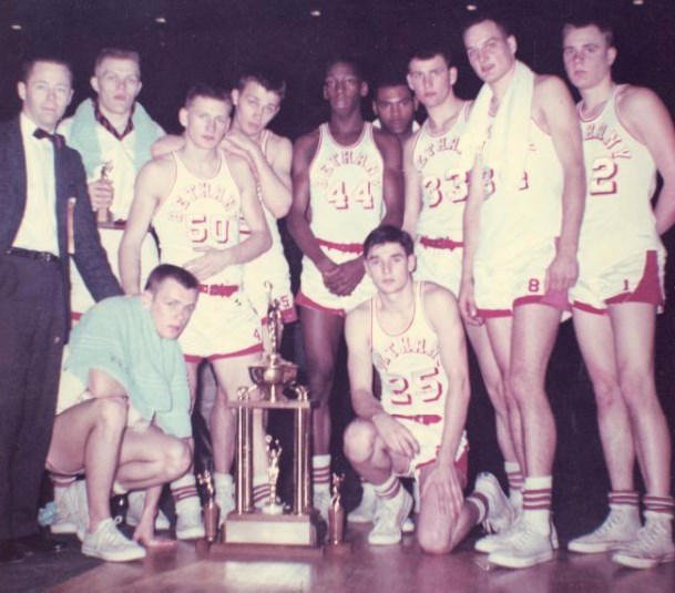 Bethany Lutheran College 1958-59 snapshot of men's basketball at nationals