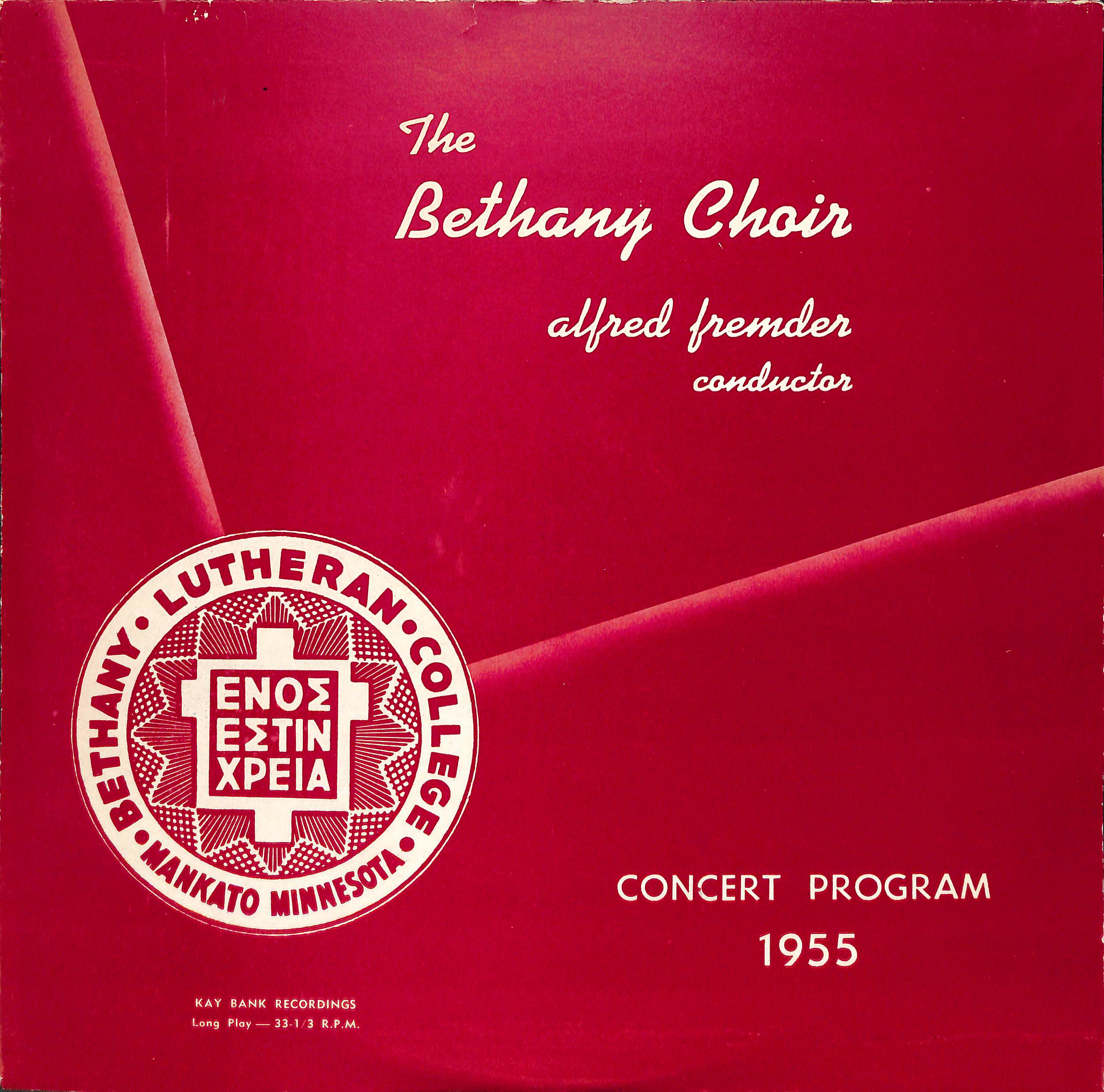 The Bethany Choir 1955: Concert Program