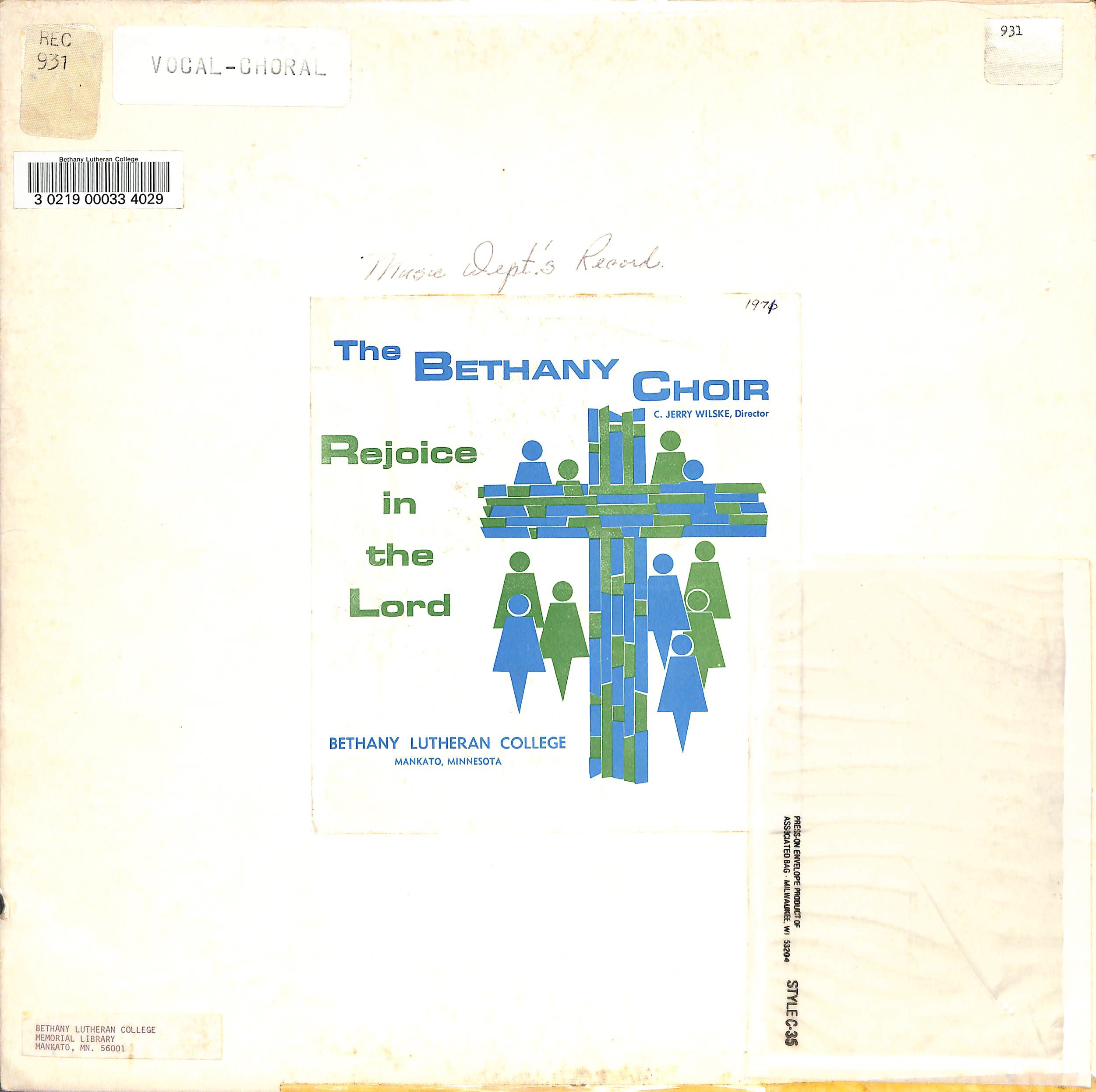 The Bethany Choir 1971: Rejoice in the Lord