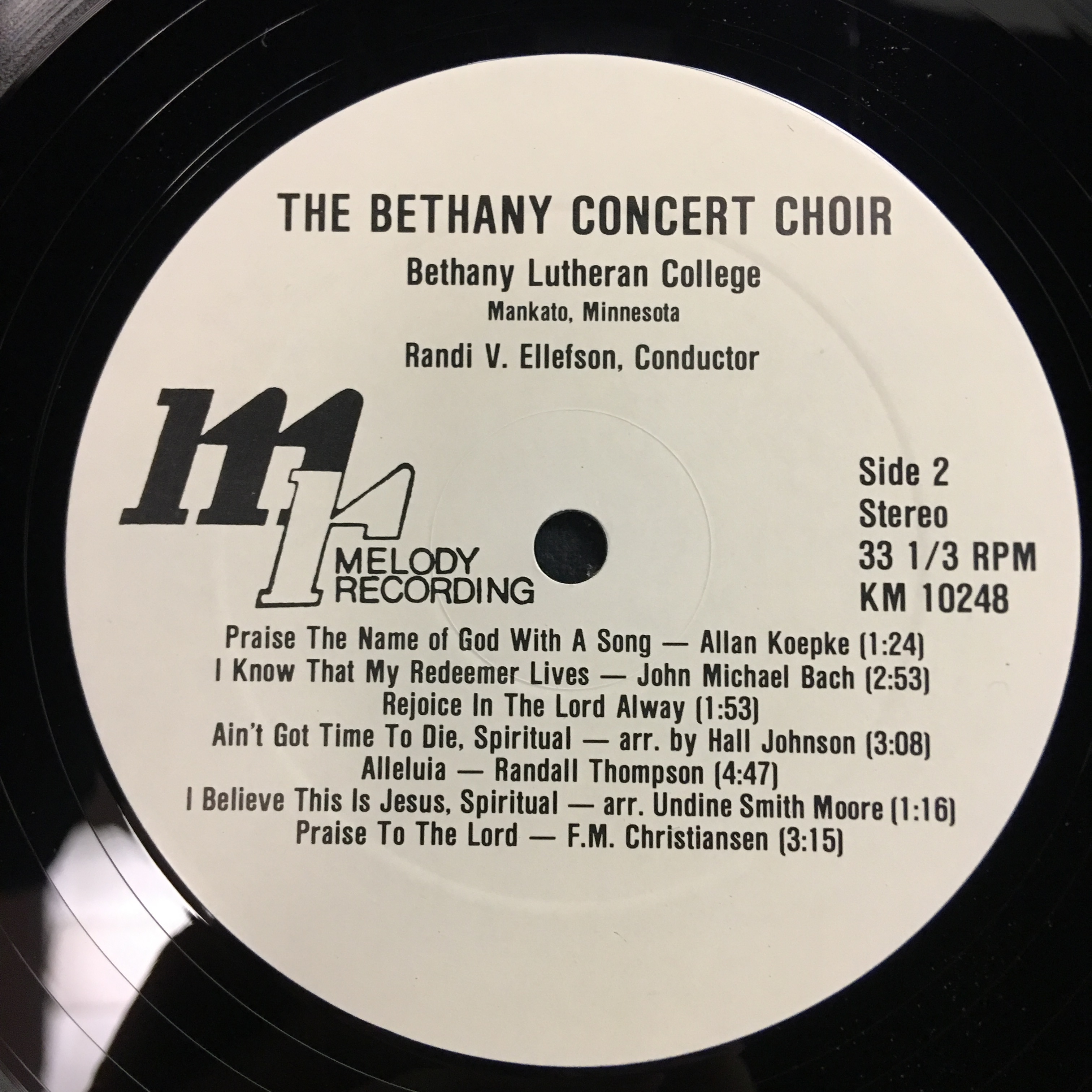 Bethany Lutheran College Choir 1982 Vinyl 1 Side 2