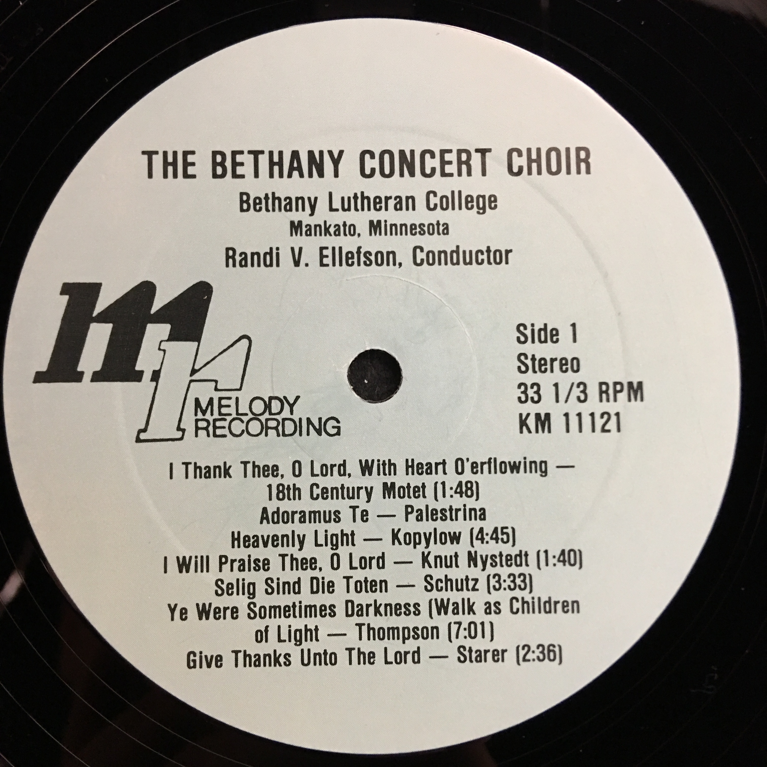 Bethany Lutheran College Choir 1983 Vinyl 1 Side 1