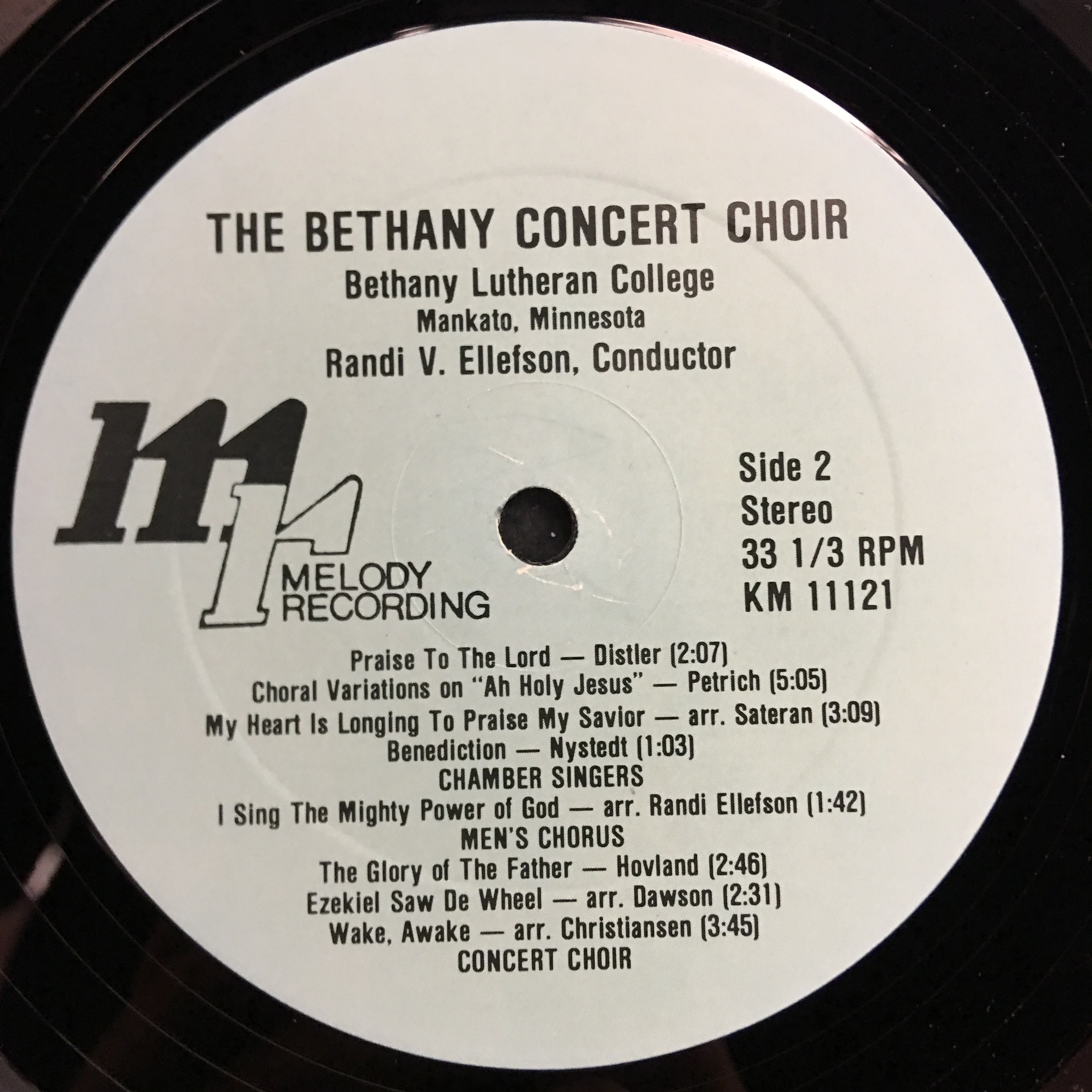 Bethany Lutheran College Choir 1983 Vinyl 1 Side 2