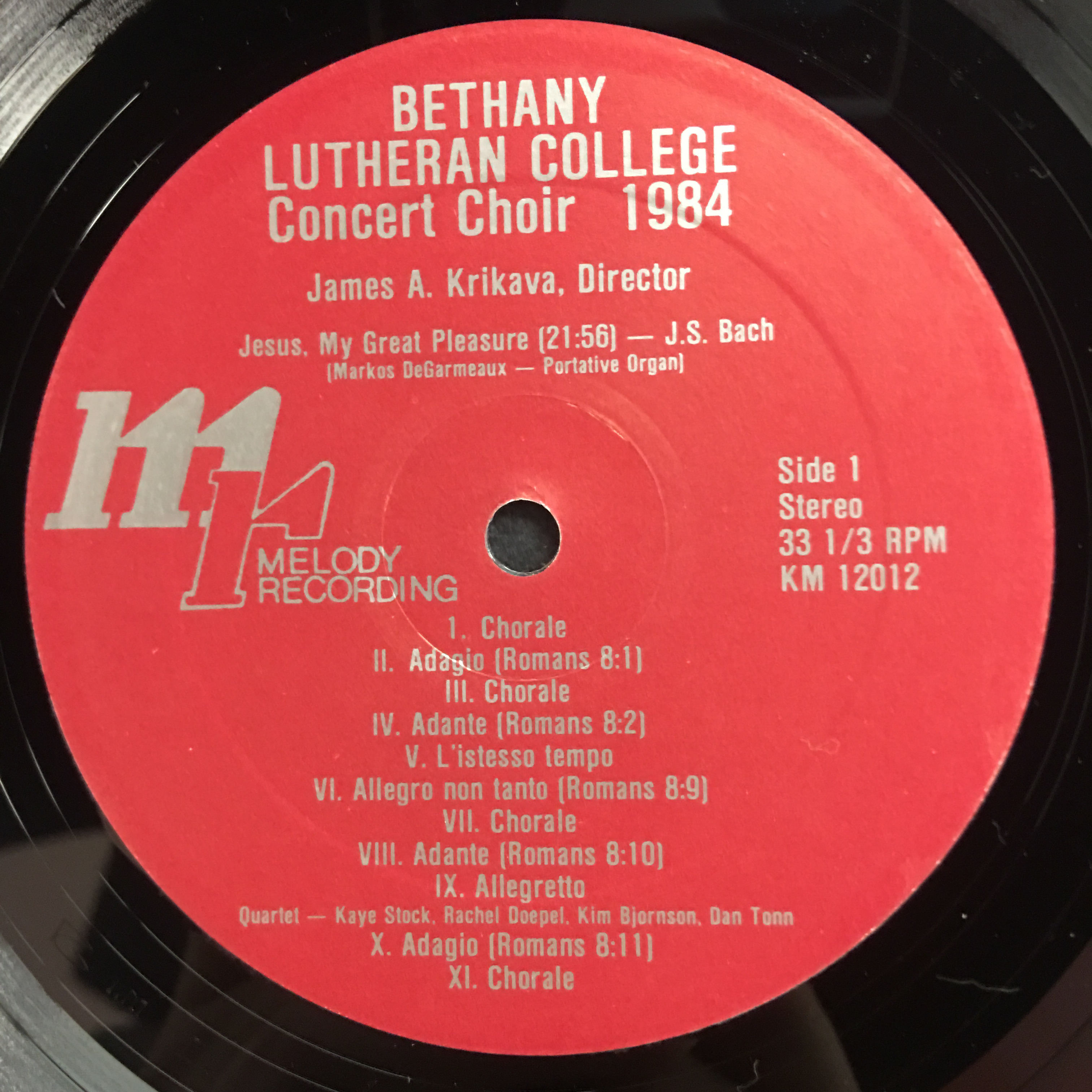 The Bethany Lutheran College Choir 1984 Vinyl 1 Side 1