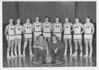 Bethany Lutheran College 1967-68 portrait of men's basketball team and coaches, Tim Knickelbein and Ron Younge
