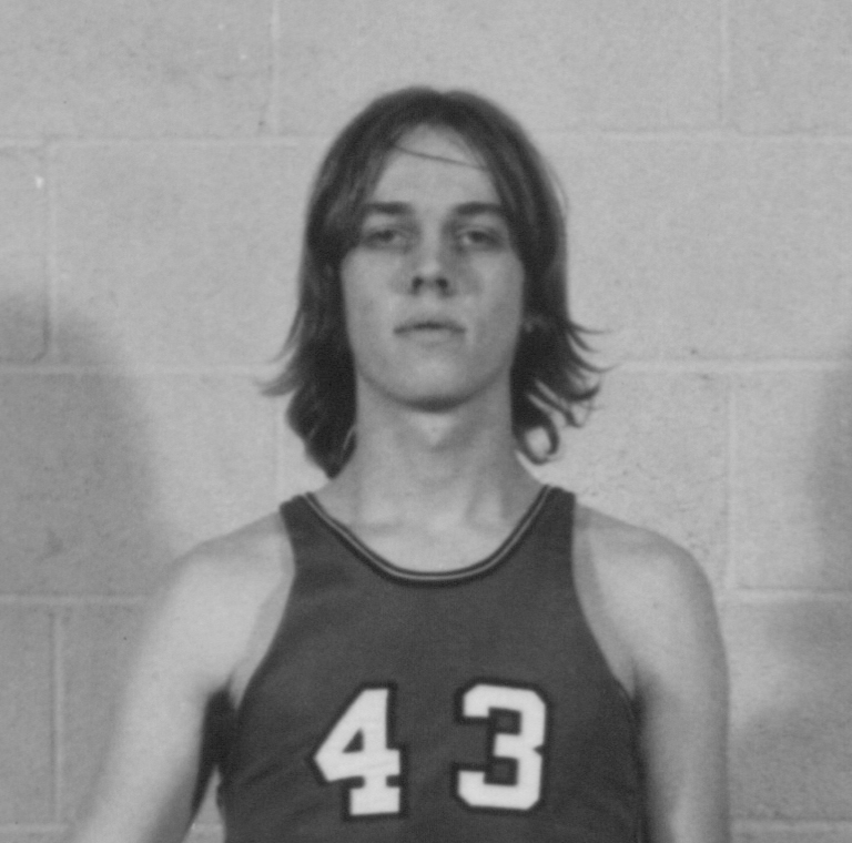 Bethany Lutheran College 1972-1973 portrait of men's basketball player, Dennis Olson