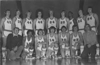 Bethany Lutheran College 1973-1974 portrait of men's basketball team and coaches
