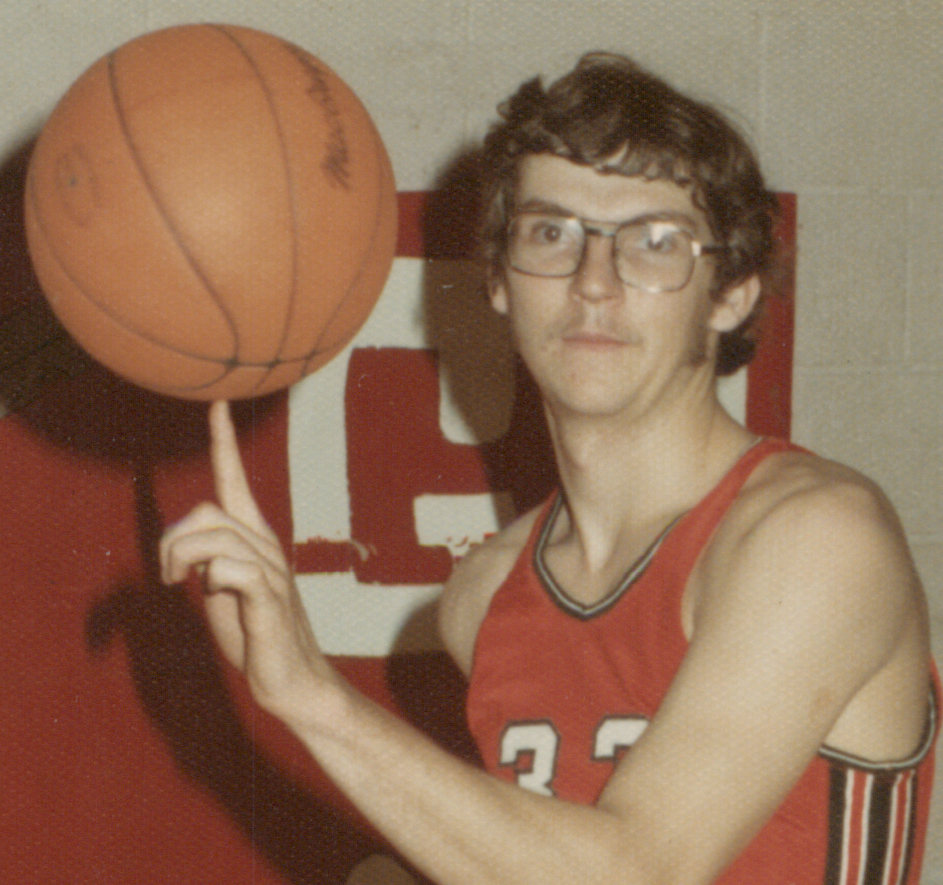 Bethany Lutheran College 1974-1975 snapshot of men's basketball player, Wes Cornnick