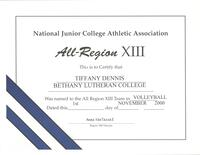 Bethany Lutheran College 2000 certificate women's volleyball Tiffany Dennis