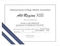 Bethany Lutheran College 2000 certificate for volleyball player, Jessica Krumwiede