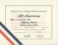 Bethany Lutheran College 2000 NJCAA All-American certificate for volleyball player, Tiffany Dennis