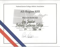 Bethany Lutheran College 1997 certificate for volleyball player, Amy Sauter