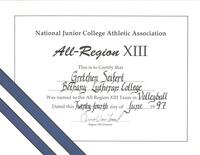 Bethany Lutheran College 1997 certificate for volleyball player, Gretchen Seifert