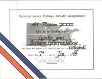 Bethany Lutheran College 1997 certificate for coach, Lynette Jones