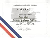 Bethany Lutheran College 1997 certificate for volleyball player, Angie Rode