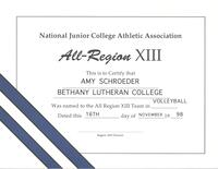 Bethany Lutheran College 1998 certificate for volleyball player, Amy Schroeder