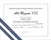 Bethany Lutheran College 1998 certificate for volleyball player, Angie Rode