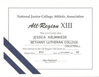 Bethany Lutheran College 1999 certificate for volleyball player, Jessica Krumwiede