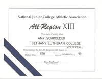 Bethany Lutheran College 1999 certificate for volleyball player, Amy Schroeder
