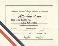 Bethany Lutheran College 1999 All-American certificate for volleyball player, Amy Schroeder