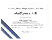 Bethany Lutheran College 2001 certificate for volleyball player Lindsy Franke
