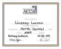 Bethany Lutheran College 2004 NCCAA certificate for volleyball player Lindsey Larsen
