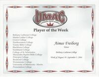 Bethany Lutheran College 2004 player of the week certificate for volleyball player Aimee Freiborg