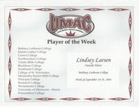Bethany Lutheran College 2004 player of the week certificate for volleyball player Lindsey Larsen