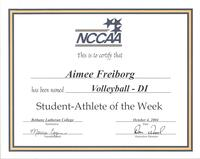 Bethany Lutheran College 2004 NCCAA student-athlete of the week certificate for volleyball player Aimee Freiborg