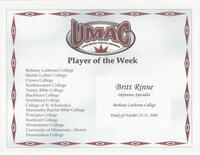 Bethany Lutheran College 2004 player of the week certificate for volleyball players Britt Rinne