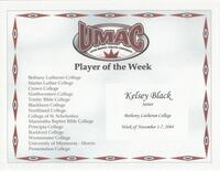 Bethany Lutheran College 2004 player of the week certificate for volleyball player Kelsey Black