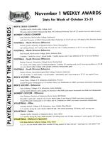 Bethany Lutheran College 2004 UMAC weekly awards report 11/01
