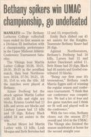 "Bethany Lutheran College 2004 newspaper article ""Bethany spikers win UMAC championship, go undefeated"""