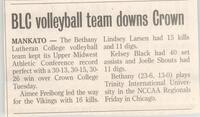 Bethany Lutheran College 2004 newspaper article for volleyball match versus Crown College