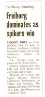 Bethany Lutheran College 2004 newspaper article for volleyball match versus Faith Baptist Bible College