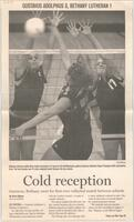 "Mankato Free Press article from September 9, 2004 ""Cold reception: Gustavus, Bethany meet for first-ever volleybal match between schools"""