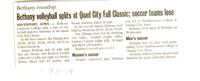 "Bethany Lutheran College 2004 newspaper article ""Bethany volleyball splits at Quad City Fall Classic"""