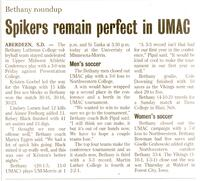 "Bethany Lutheran College 2004 newspaper article for volleyball ""Spikers remain perfect in UMAC"""