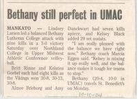 "Bethany Lutheran College 2004 newspaper article for volleyball ""Spikers still perfect in UMAC"""