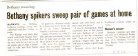 "Bethany Lutheran College 2004 newspaper article for volleyball ""Bethany spikers sweep pair of games at home"""
