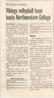 "Bethany Lutheran College 2004 newspaper article for volleyball ""Vikings volleyball team beats Northwestern College"""
