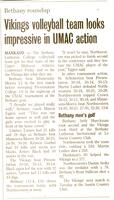 "Bethany Lutheran College 2004 newspaper article for volleyball ""Vikings volleyball team looks impressive in UMAC action"""