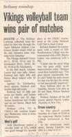 "Bethany Lutheran College 2004 newspaper article for volleyball ""Vikings volleyball team wins pair of matches"""