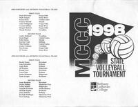 Bethany Lutheran College 1998 MCCC state volleyball tournament banquet program