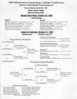 Bethany Lutheran College 1998 MCCC state volleyball tournament brackets