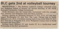 "Bethany Lutheran College 1985 newspaper clipping ""BLC gets 2nd at volleyball tourney"""