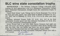 "Bethany Lutheran College 1985 newspaper clipping ""BLC wins state consolation trophy"""