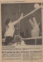 "Mankato Free Press article October, 1985 ""BLC picks up two victories in volleyball"""